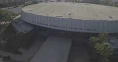 Aerial Pedestal Down Onto The Los Angeles Memorial Sports Arena Stock Footage