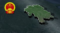 Guizhou with Coat Of Arms Animation Map Stock Footage