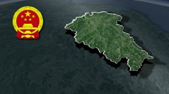 Jiangxi with Coat Of Arms Animation Map Stock Footage