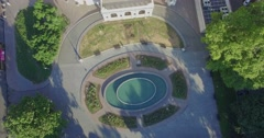 Aerial camera tilts from the pond to the side of the Odessa Opera House - stock footage