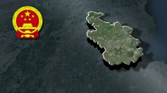 Tianjin with Coat Of Arms Animation Map Stock Footage