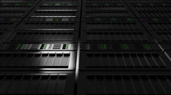 Server room dolly shot, low angle view. Version with no defocus. Seamless loop - stock footage