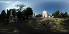 360Vr Video Statue in Courtyard Zarvanytsia Church Complex Anne Dormition Day Stock Footage