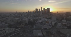 "Aerial ""Push Into"" Shot of Downtown Los Angeles During Sunset Stock Footage"