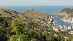Balaklava is popular Crimean resort. Bay former submarine base Stock Footage