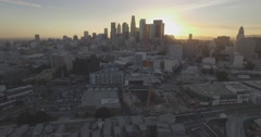 "Aerial ""Push Into"" Shot of Downtown Los Angeles During Sunset - stock footage"
