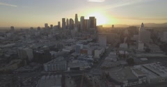 "Aerial ""Fly Away"" from Downtown Los Angeles During Sunset Stock Footage"