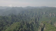 Aerial flight over beautiful nature park Zhangjiajie, landscape in China Stock Footage