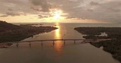 Aerial view SiriLanta bridge Stock Footage