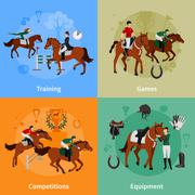 Horse Rising Sport 2x2 Design Concept - stock illustration