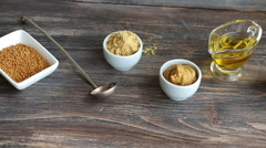 Set of different kinds of mustard Stock Footage