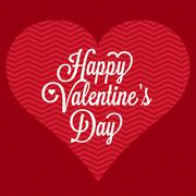 Vector happy valentine's day with heart and stripe background, no gradient Stock Illustration