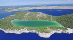 Aerial view of the Slano lake in nature park Telascica Stock Footage