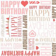 Vector happy birthday alphabet headline, seamless pattern Stock Illustration