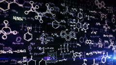 Chemical formulas on blue Stock Footage