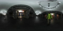 360Vr Video Man Walking by Underground Station Kiev City Day Passengers Sitting Stock Footage