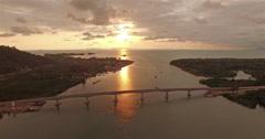 Aerial photography SiriLanta bridge Stock Footage