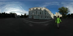 360Vr Video Man Filming Soviet-Style and Old Buildings Kiev Square Pavement Stock Footage