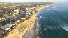 A beautiful aerial above the California coastline north of San Diego. Stock Footage