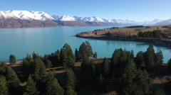 Lake Pukaki and the Southern Alps of New Zealand, aerial view Stock Footage