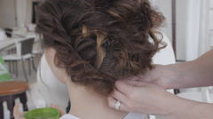 the creation of women's hairstyles 30fps - stock footage