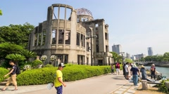 HIROSHIMA, JAPAN: Timelapse of Hiroshima's Atomic Dome, one of the only building Stock Footage