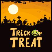 Trick Or Treat Cemetery - stock illustration