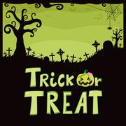 Trick Or Treat Green Cemetery - stock illustration