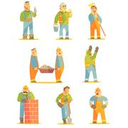 Builder Professionals At Construction Site Set Stock Illustration