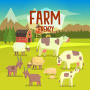 Farm Frenzy Illustration With Field Full Of  Animals - stock illustration