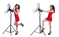 Woman wearing red dress isolated on white Stock Photos