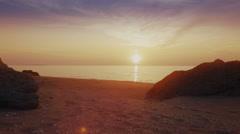 Beautiful sunset on Sea of Azov. Coast of Crimea Stock Footage