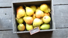 Healthy Organic Pears - Vegan food concept, vintage style Stock Footage