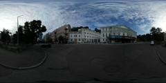 360Vr Video Square Panorama Buildings Old Kiev People Are Walking by Pavement Stock Footage