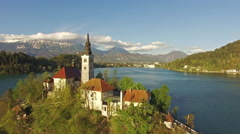 Church in Bled Lake aerial view Stock Footage