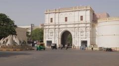 Traffic passing through Khambhaliya  gate,Jamnagar,India Stock Footage