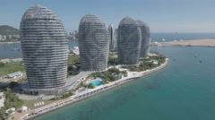 Aerial of modern luxurious hotel resort on Hainan island, South China Sea Stock Footage