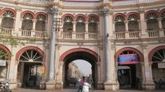 Kalavad gate with traffic passing through,Jamnagar,India Stock Footage