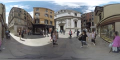 4K 360VR video, Italy, views of Venice streets, channels and architecture. Stock Footage