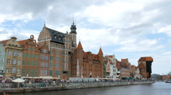 Gdansk, Poland - old town. Motlwa river. Old Town - Main City in Gdansk Stock Footage