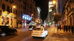 Traffic at night in Madrid Stock Footage