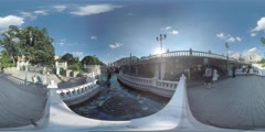 4K 360VR video, Moscow landmarks Manezhnaya Square fountains and fair. Stock Footage