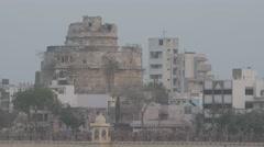 Ruined Bhujiyo Kotho fort at Ranmal lake,Jamnagar,India Stock Footage