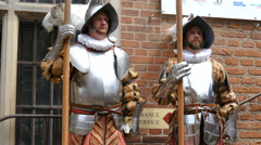 Gdansk. Guards in historic outfit during opening of famous St Dominic fair Stock Footage
