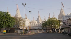Shantinath mandir jain temple and street traffic,Jamnagar,India Stock Footage