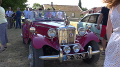 English vintage car - Chic MG car in an collector exhibition - Slow motion Stock Footage