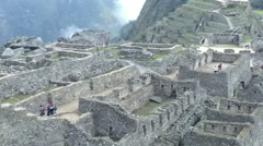 View of the ancient Inca City of Machu Picchu. The 15-th century Inca site. Stock Footage
