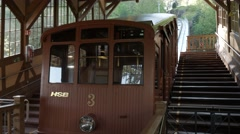 Heidelberg Funicular vintage cable car stationary in station Stock Footage