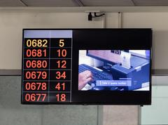 Monitor with instructions and numbers of a queue Stock Photos