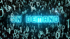 Bluish On Demand concept with digital code Stock Footage